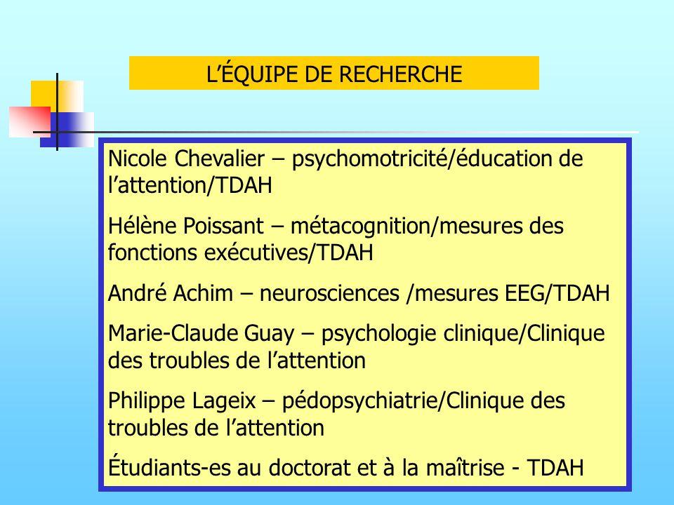 L'ÉQUIPE DE RECHERCHE Nicole Chevalier – psychomotricité/éducation de l'attention/TDAH.