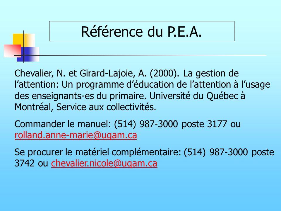 Référence du P.E.A.
