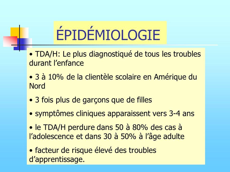 ÉPIDÉMIOLOGIE TDA/H: Le plus diagnostiqué de tous les troubles durant l'enfance. 3 à 10% de la clientèle scolaire en Amérique du Nord.