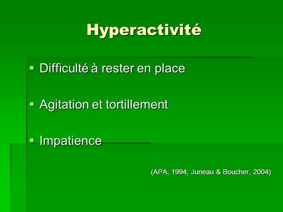Hyperactivité Difficulté à rester en place Agitation et tortillement