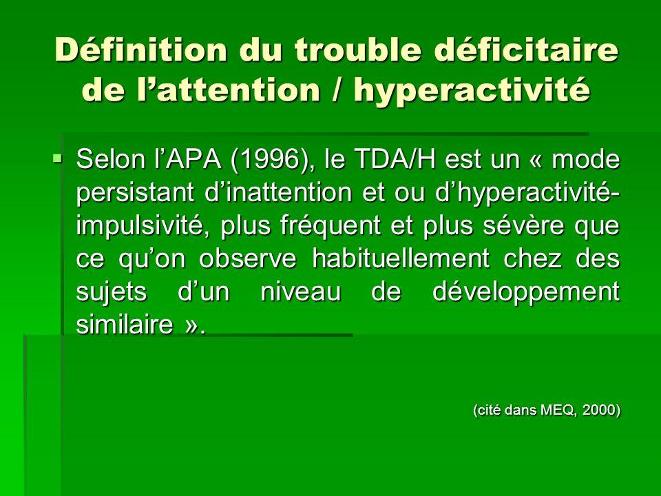 Définition du trouble déficitaire de l'attention / hyperactivité