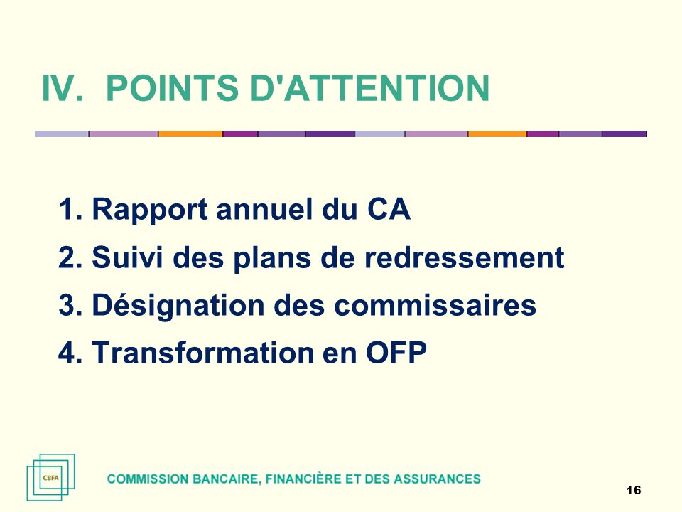 POINTS D ATTENTION 1. Rapport annuel du CA