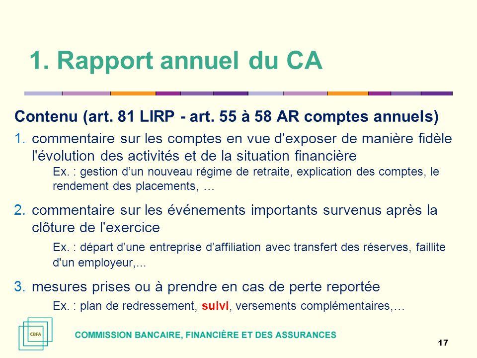 1. Rapport annuel du CA Contenu (art. 81 LIRP - art. 55 à 58 AR comptes annuels)