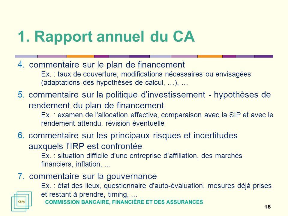 1. Rapport annuel du CA commentaire sur le plan de financement