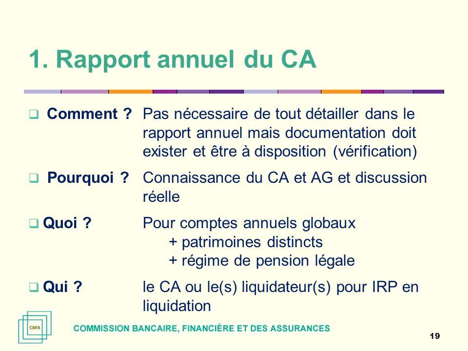 1. Rapport annuel du CA