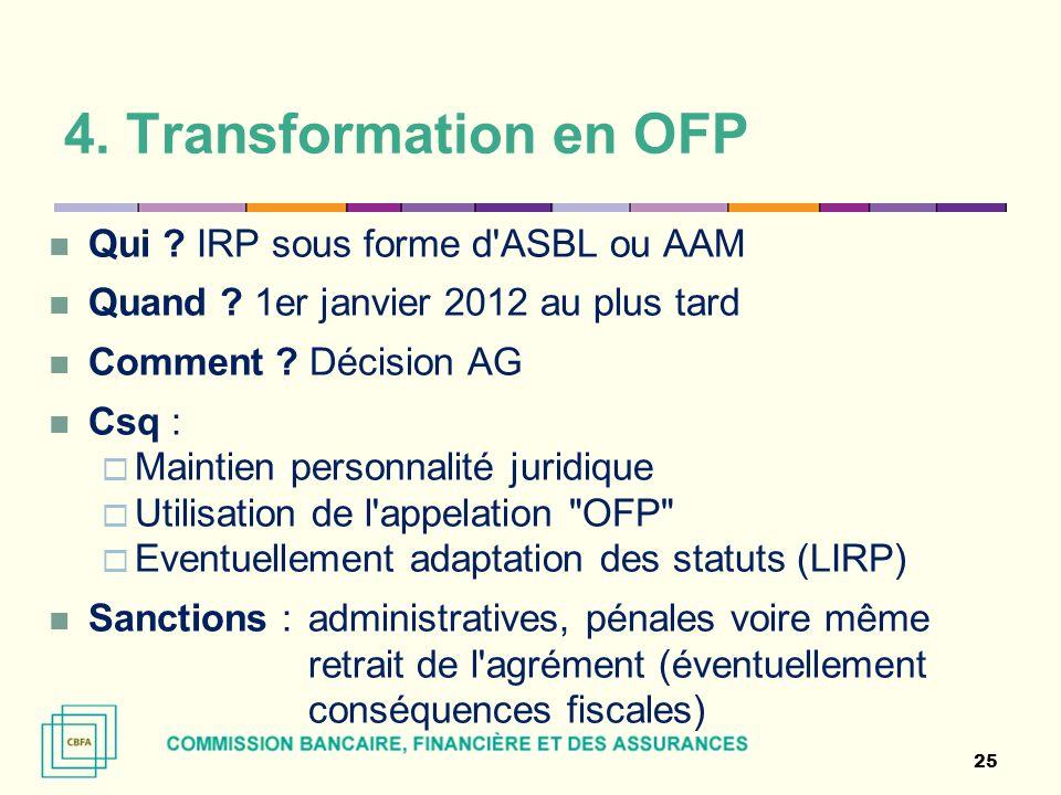 4. Transformation en OFP Qui IRP sous forme d ASBL ou AAM