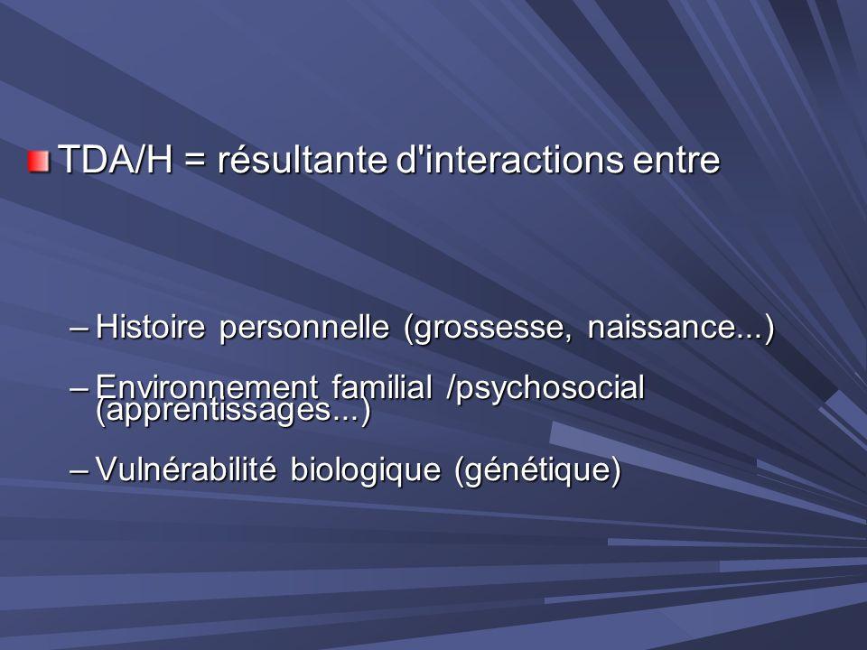 TDA/H = résultante d interactions entre
