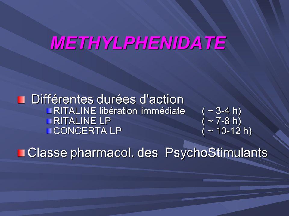 METHYLPHENIDATE Différentes durées d action
