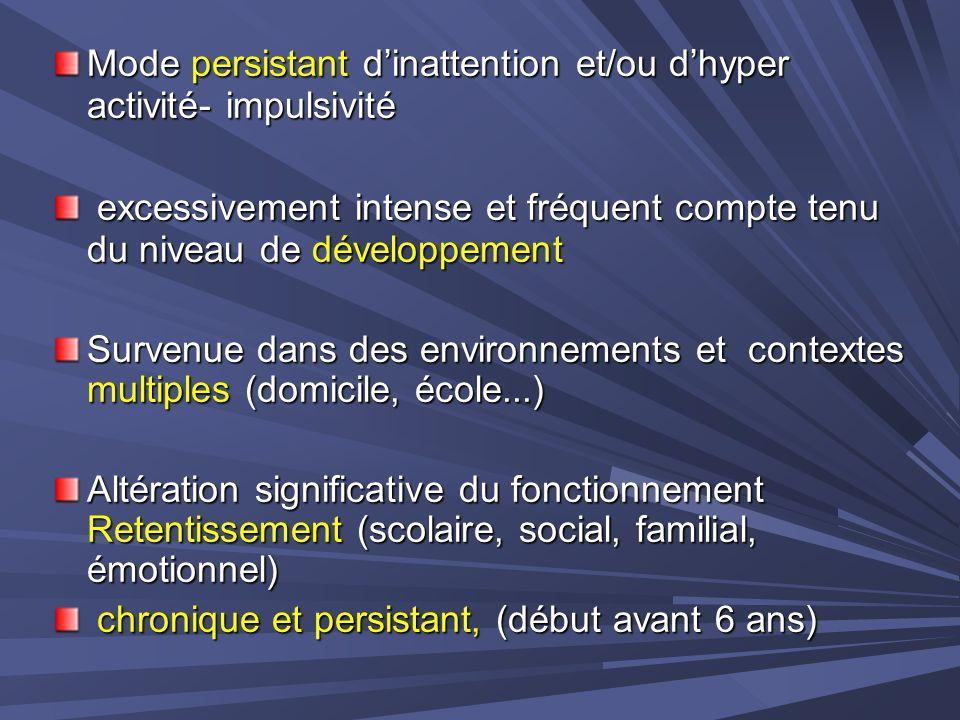 Mode persistant d'inattention et/ou d'hyper activité- impulsivité