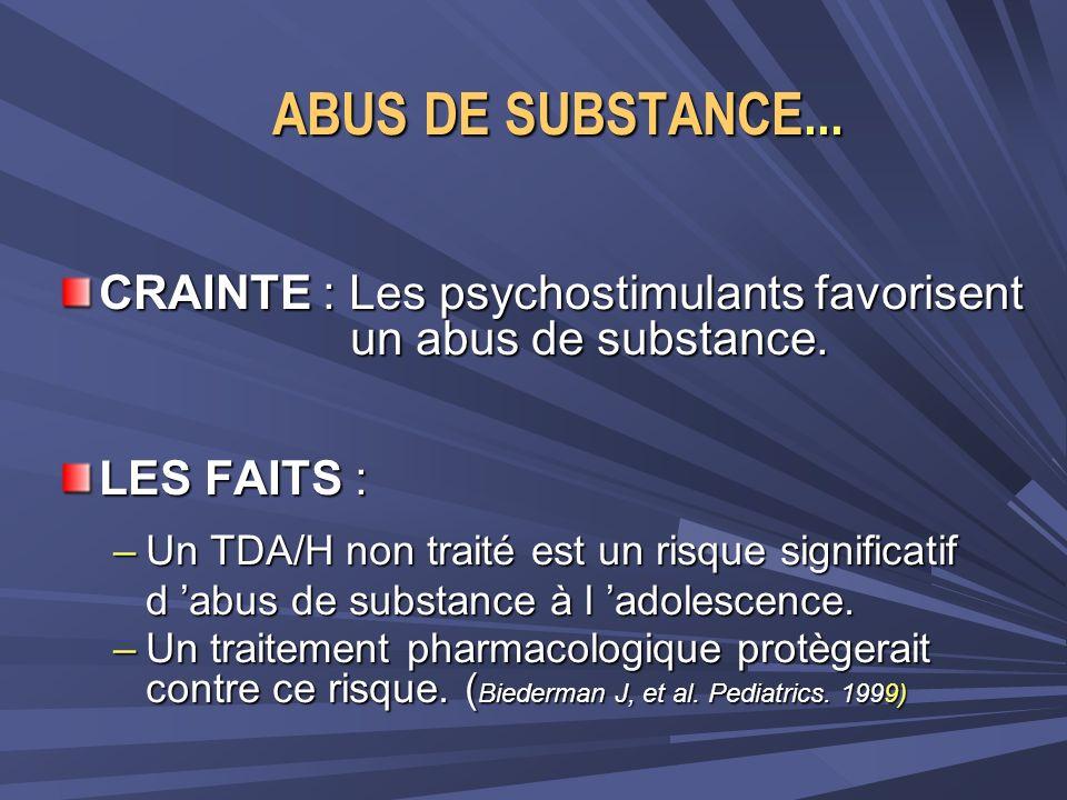 ABUS DE SUBSTANCE... CRAINTE : Les psychostimulants favorisent un abus de substance. LES FAITS :