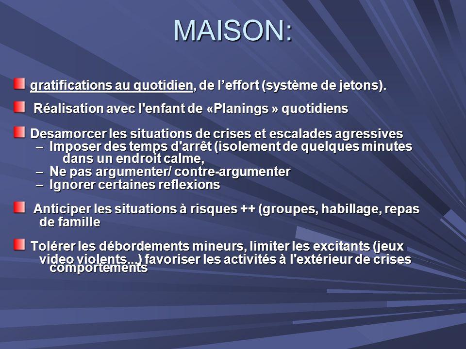 MAISON: gratifications au quotidien, de l'effort (système de jetons).