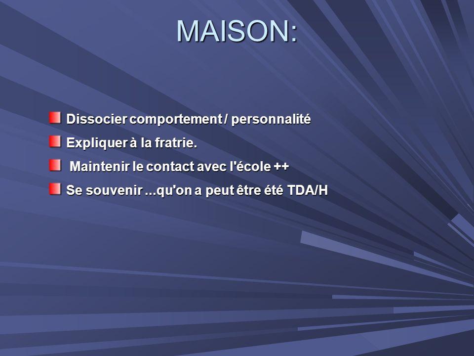 MAISON: Dissocier comportement / personnalité Expliquer à la fratrie.