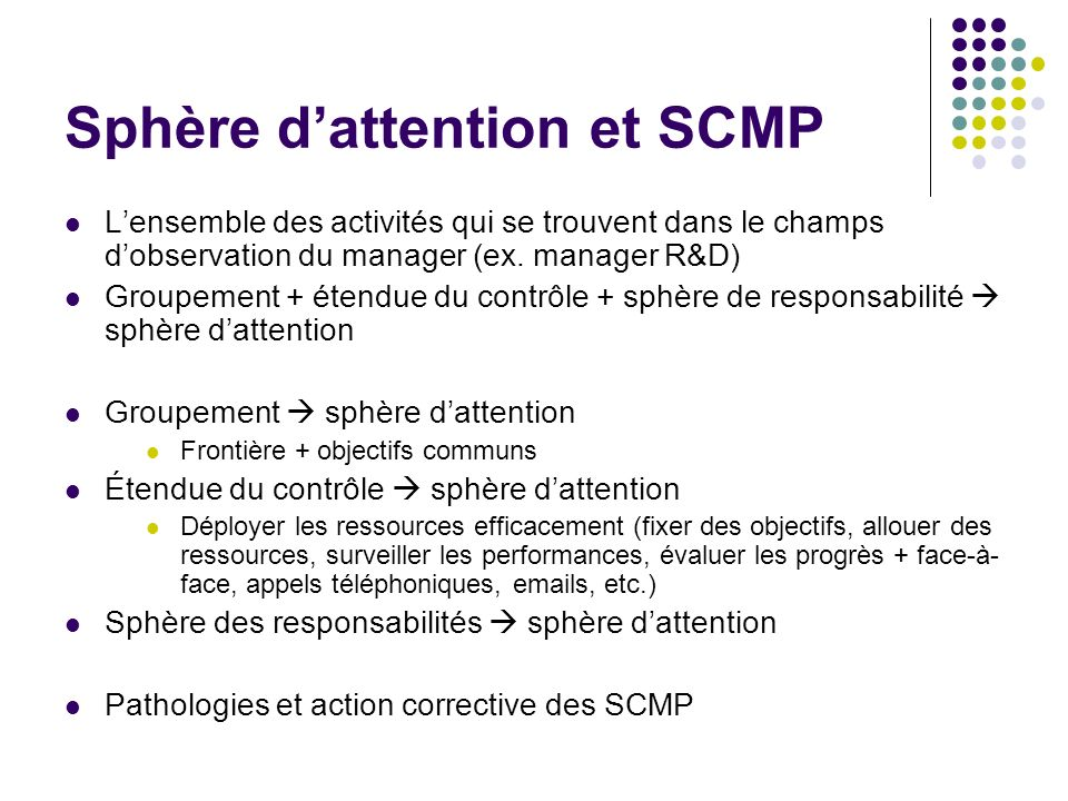 Sphère d'attention et SCMP