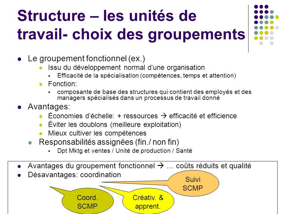 Structure – les unités de travail- choix des groupements