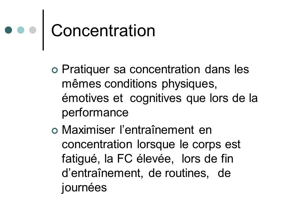 Concentration Pratiquer sa concentration dans les mêmes conditions physiques, émotives et cognitives que lors de la performance.