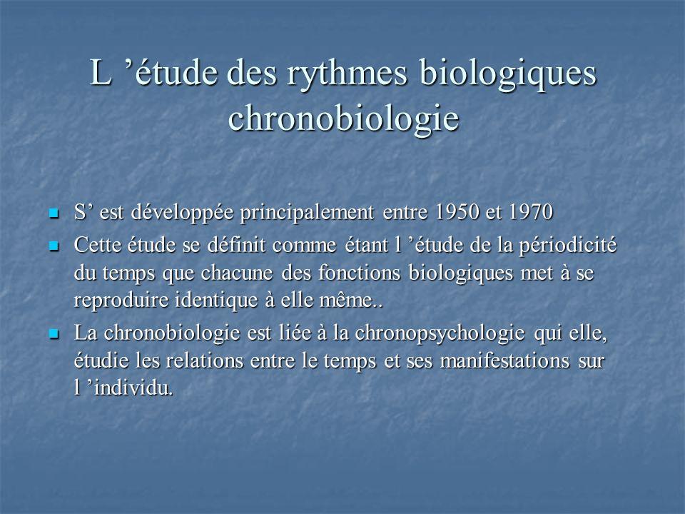 L 'étude des rythmes biologiques chronobiologie