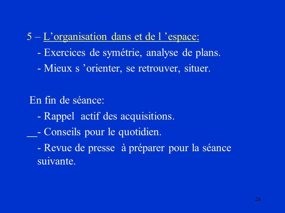 5 – L'organisation dans et de l 'espace: