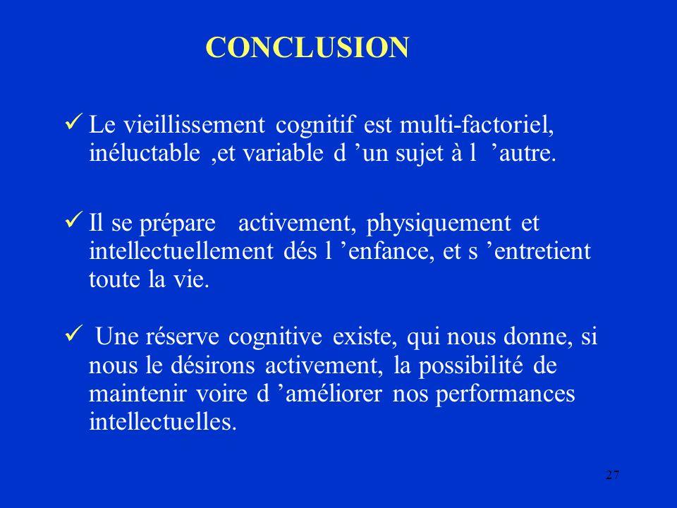 CONCLUSION Le vieillissement cognitif est multi-factoriel, inéluctable ,et variable d 'un sujet à l 'autre.