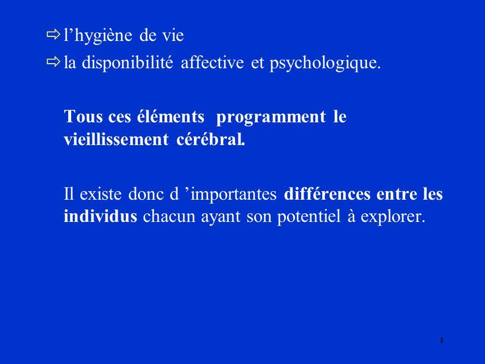 l'hygiène de vie la disponibilité affective et psychologique. Tous ces éléments programment le vieillissement cérébral.