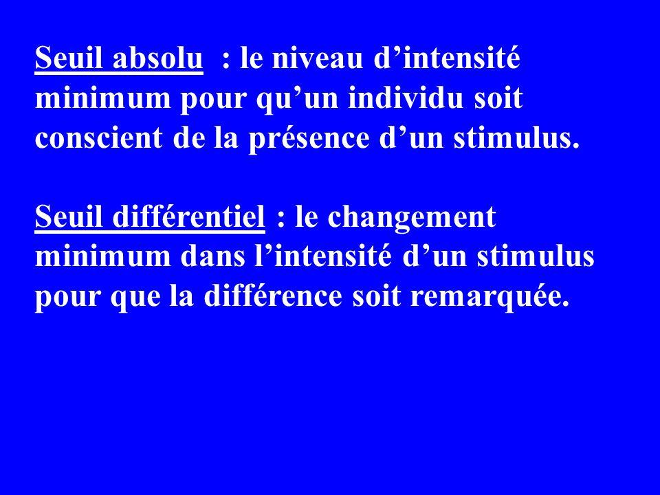 Seuil absolu : le niveau d'intensité minimum pour qu'un individu soit conscient de la présence d'un stimulus.