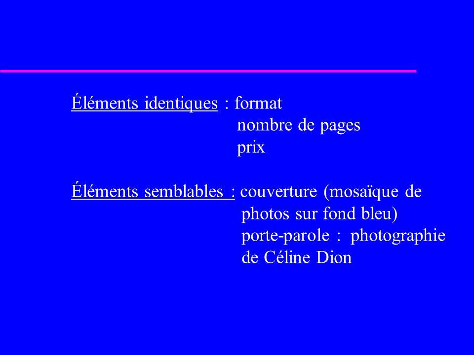 Éléments identiques : format