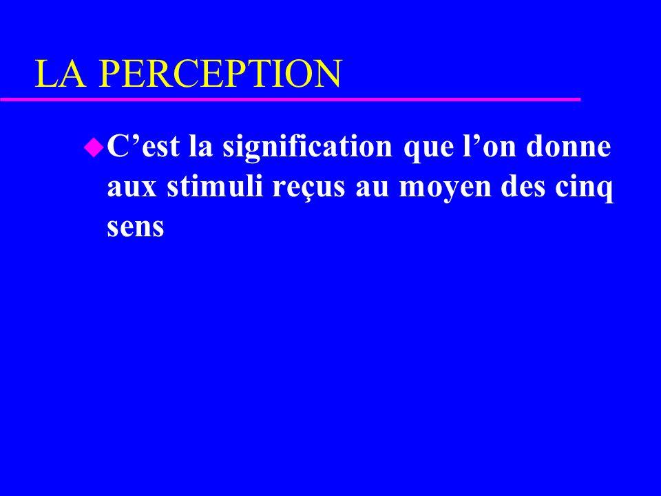 LA PERCEPTION C'est la signification que l'on donne aux stimuli reçus au moyen des cinq sens