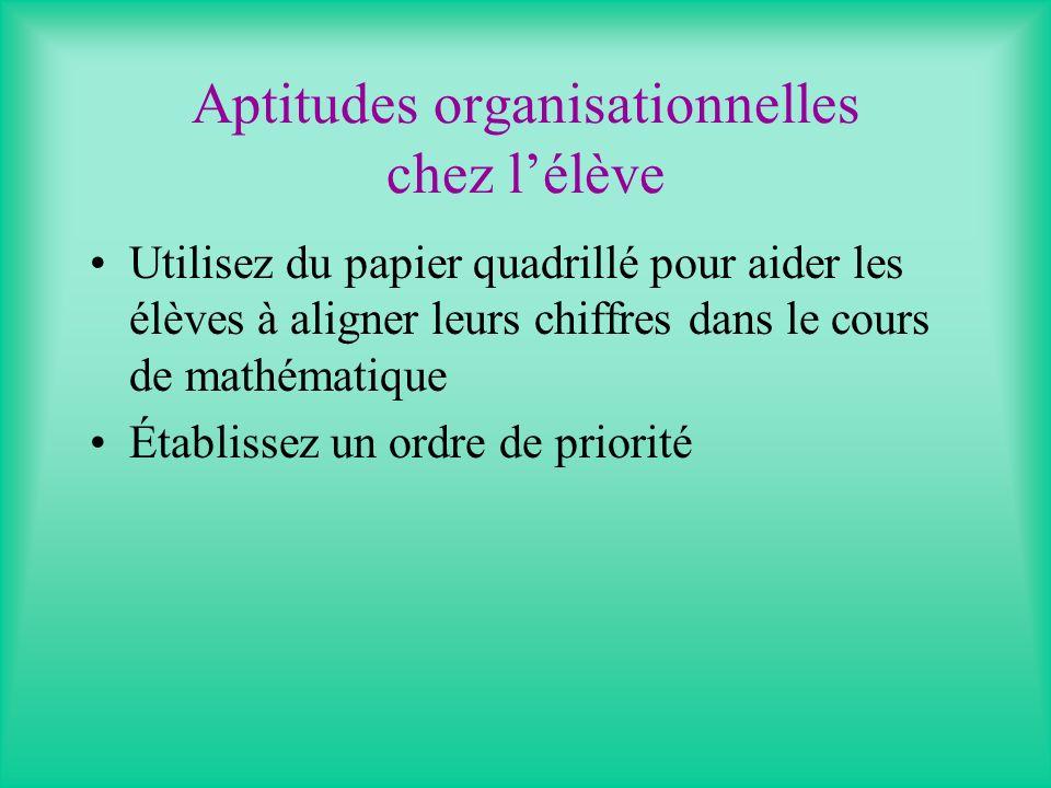 Aptitudes organisationnelles chez l'élève