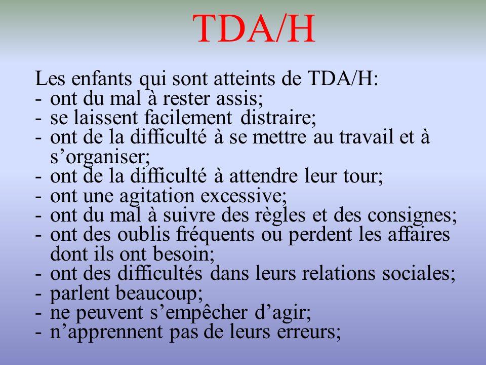 TDA/H Les enfants qui sont atteints de TDA/H: