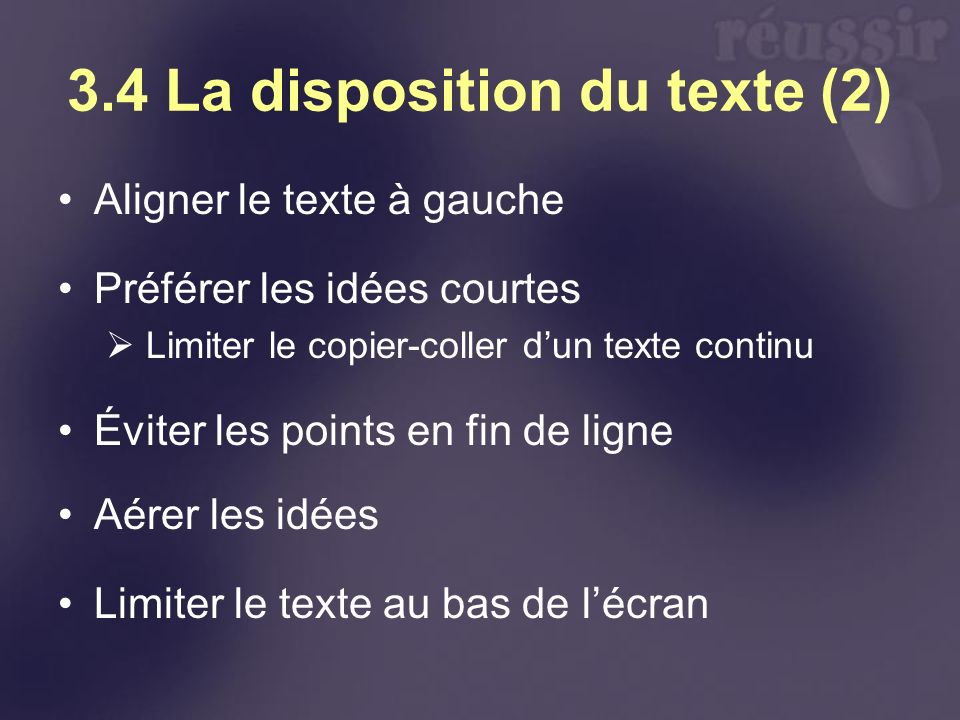 3.4 La disposition du texte (2)