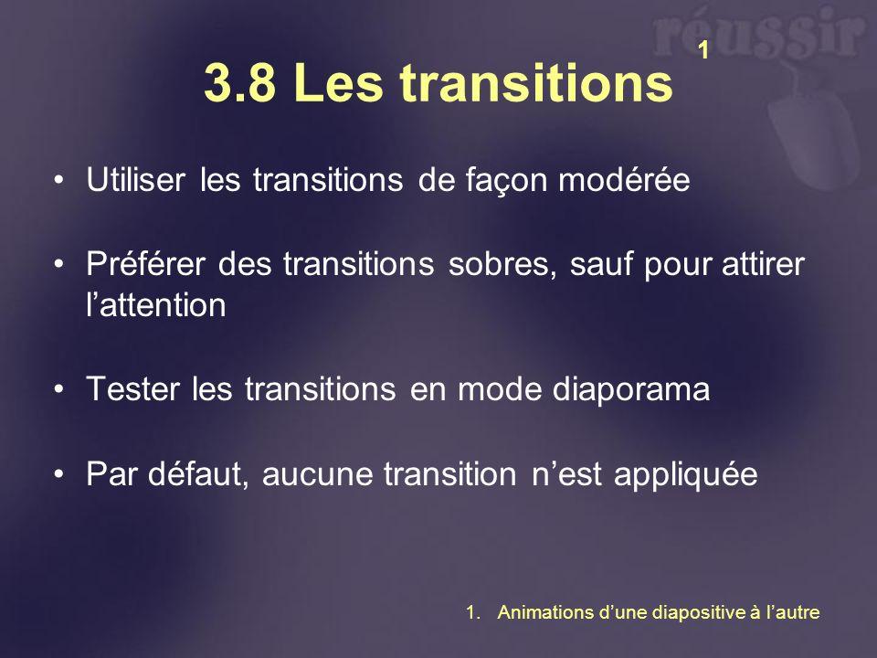3.8 Les transitions Utiliser les transitions de façon modérée