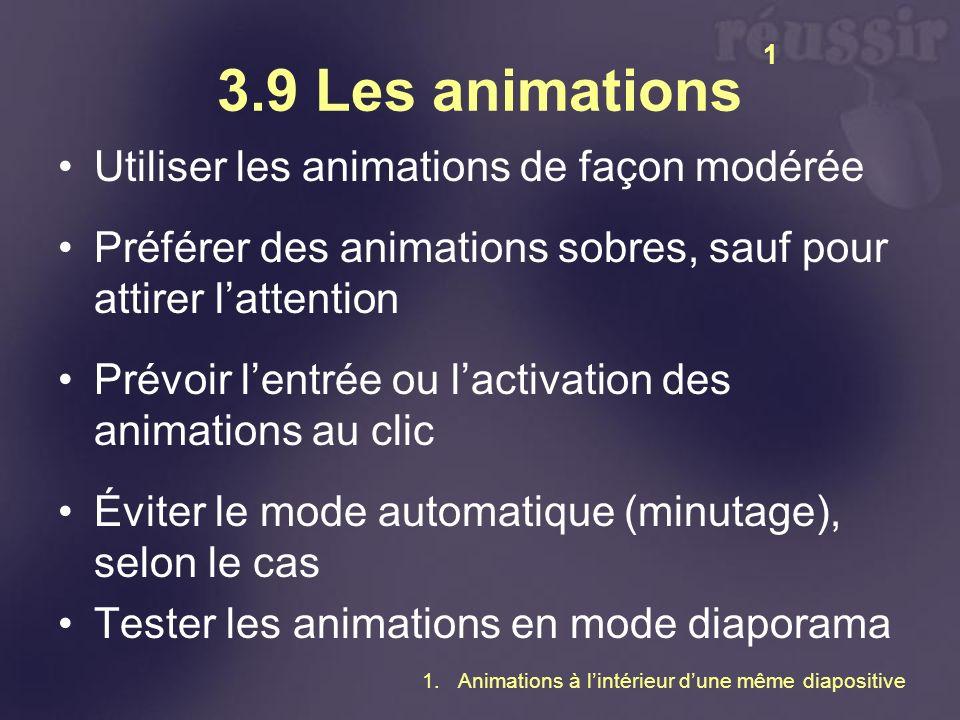 3.9 Les animations Utiliser les animations de façon modérée