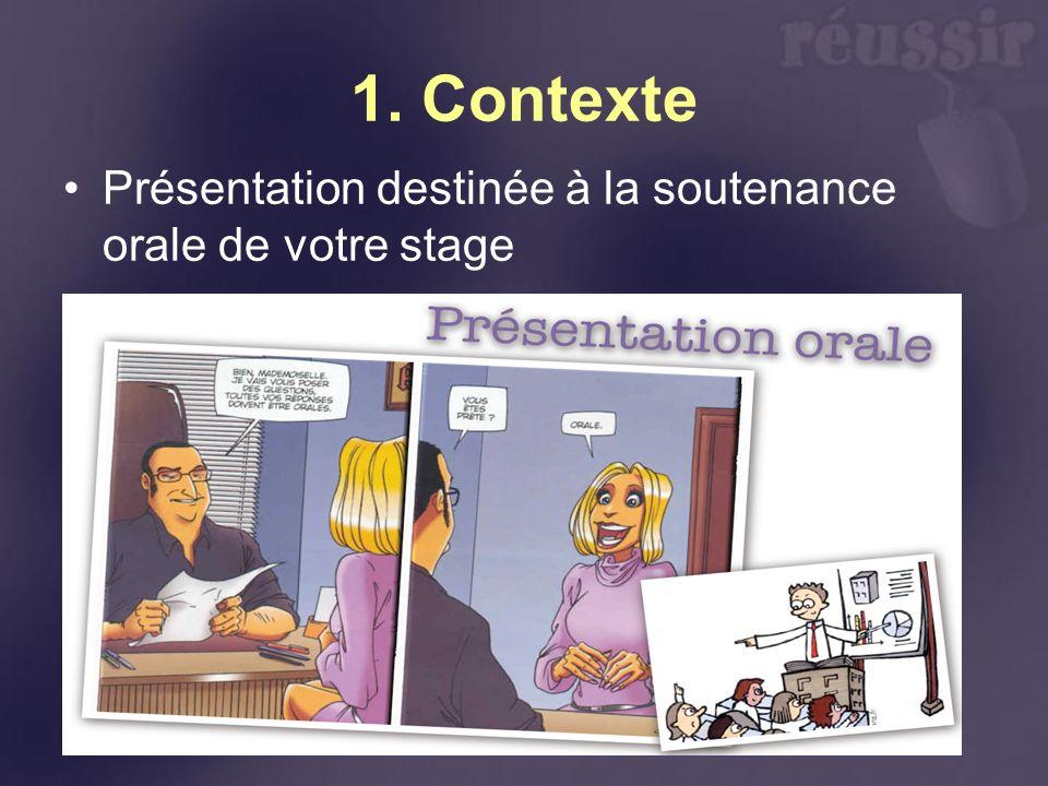 1. Contexte Présentation destinée à la soutenance orale de votre stage