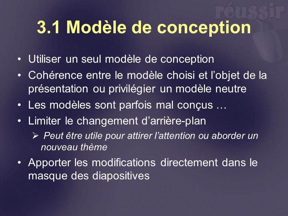 3.1 Modèle de conception Utiliser un seul modèle de conception