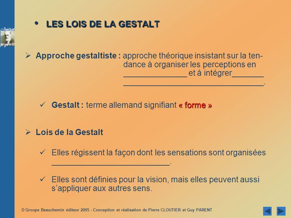 LES LOIS DE LA GESTALT
