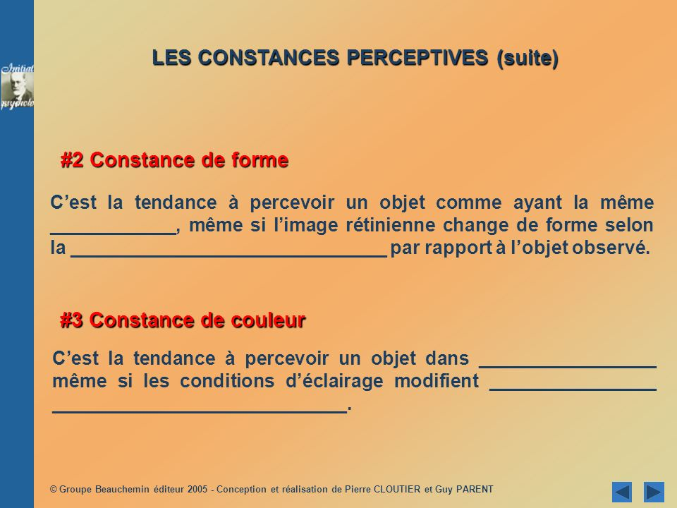 LES CONSTANCES PERCEPTIVES (suite)