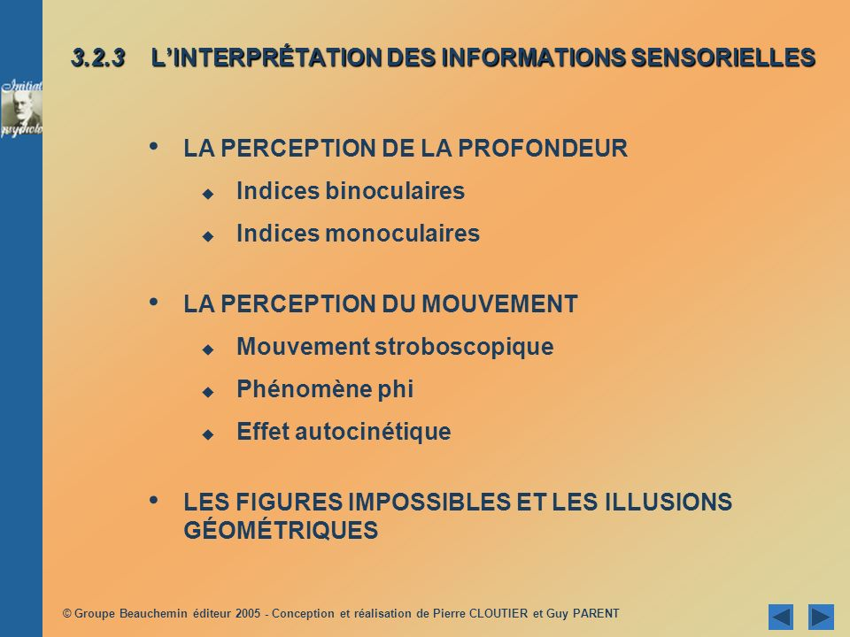 3.2.3 L'INTERPRÉTATION DES INFORMATIONS SENSORIELLES