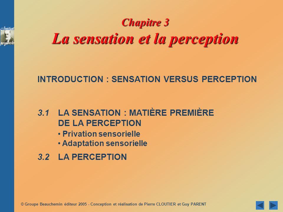 Chapitre 3 La sensation et la perception