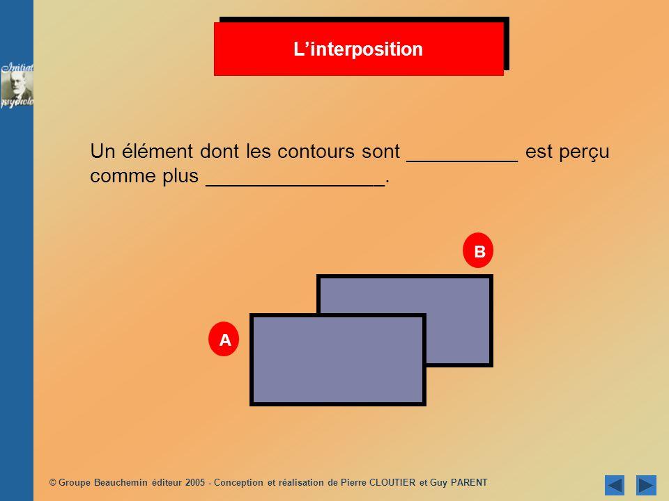 L'interposition Un élément dont les contours sont __________ est perçu comme plus ________________.