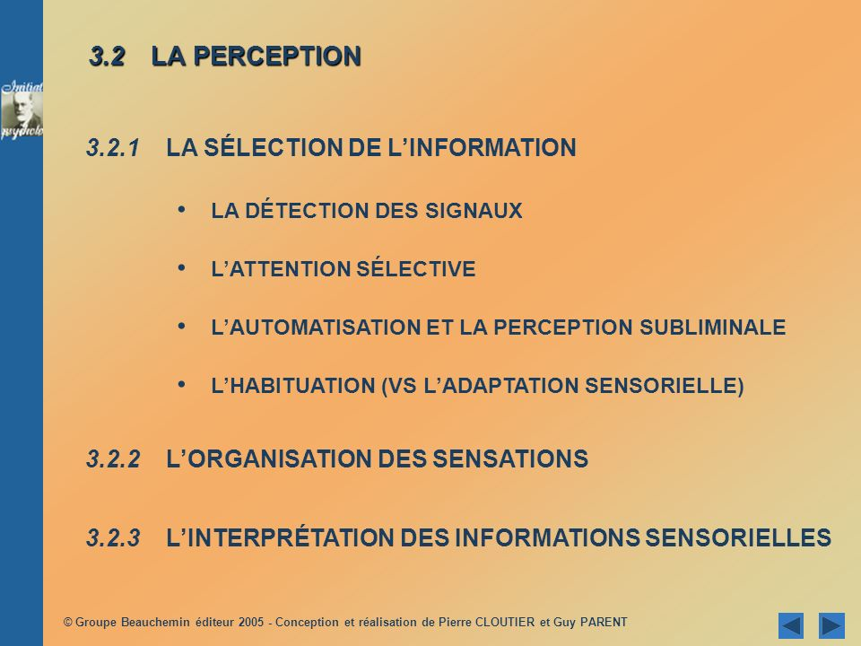 3.2 LA PERCEPTION 3.2.1 LA SÉLECTION DE L'INFORMATION