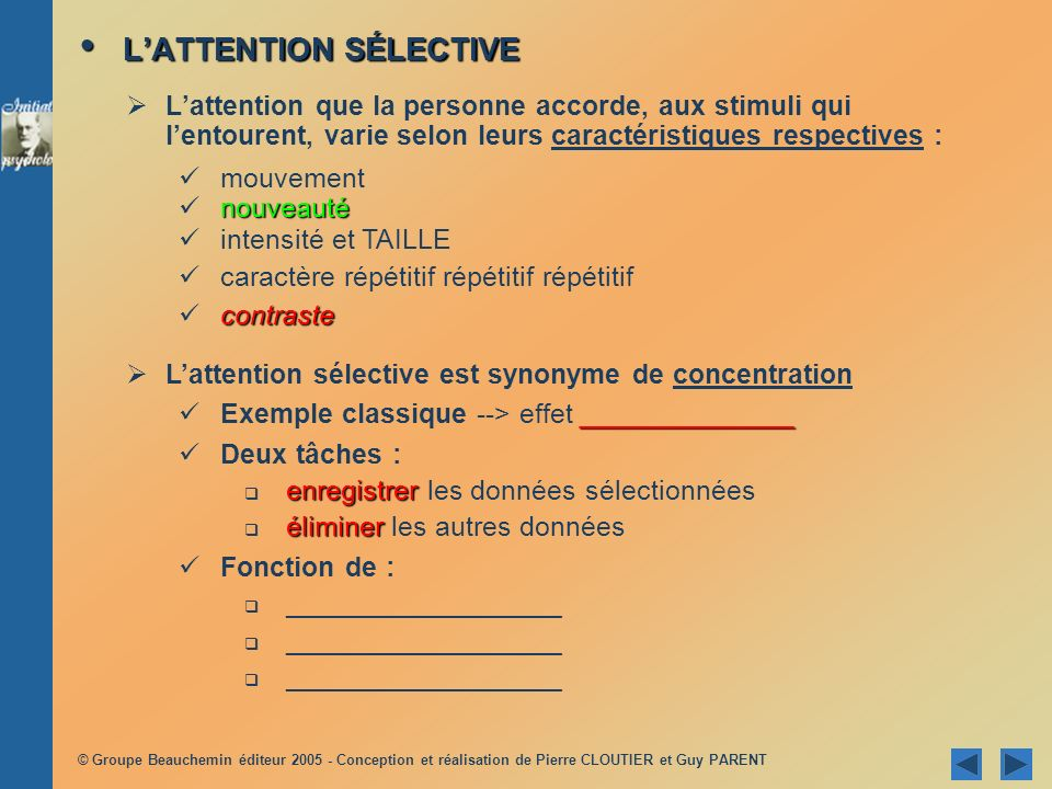 L'ATTENTION SÉLECTIVE