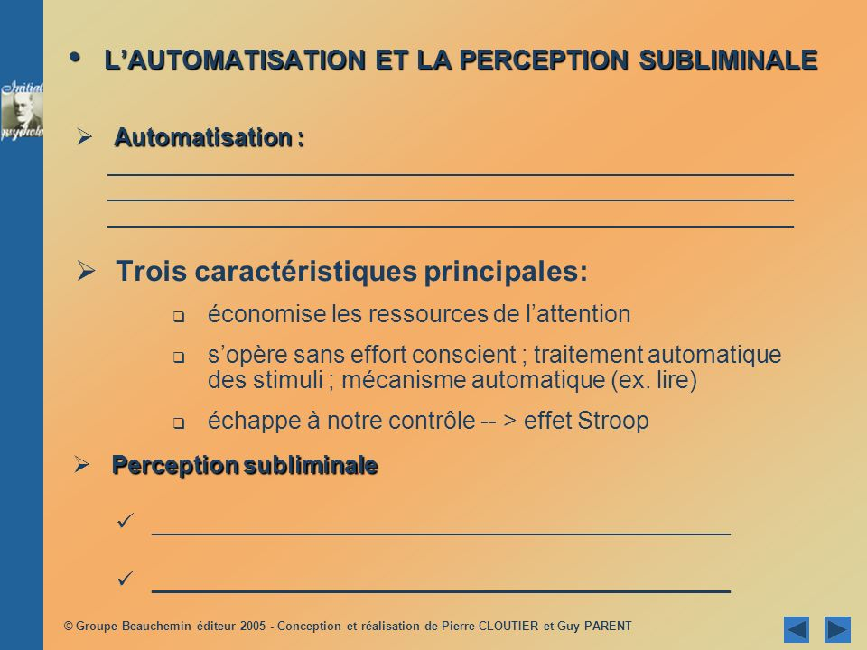 L'AUTOMATISATION ET LA PERCEPTION SUBLIMINALE