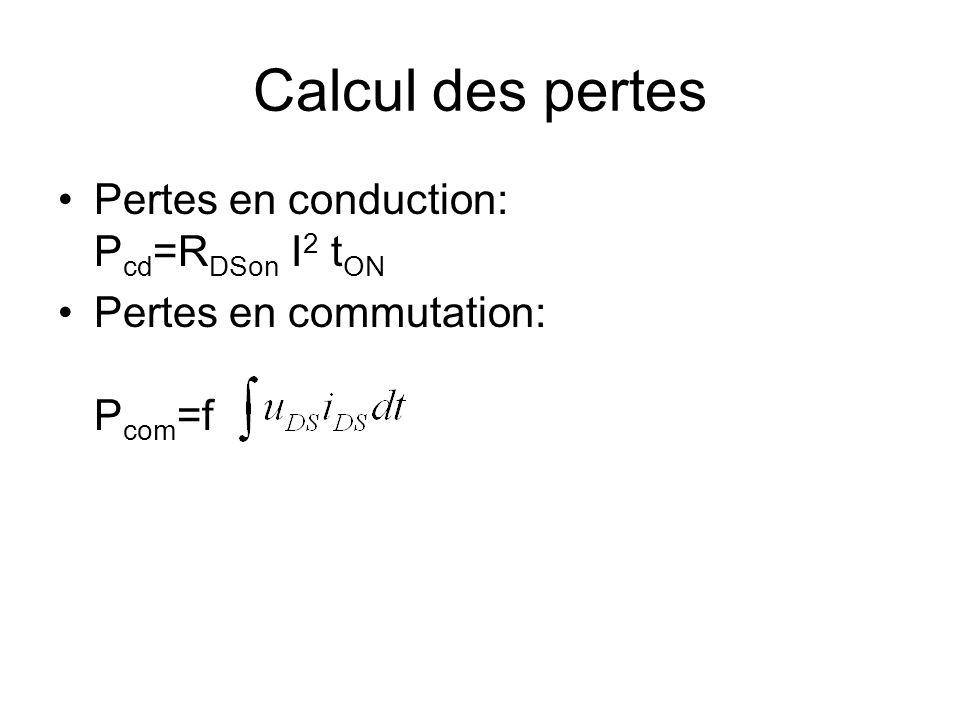 Calcul des pertes Pertes en conduction: Pcd=RDSon I2 tON