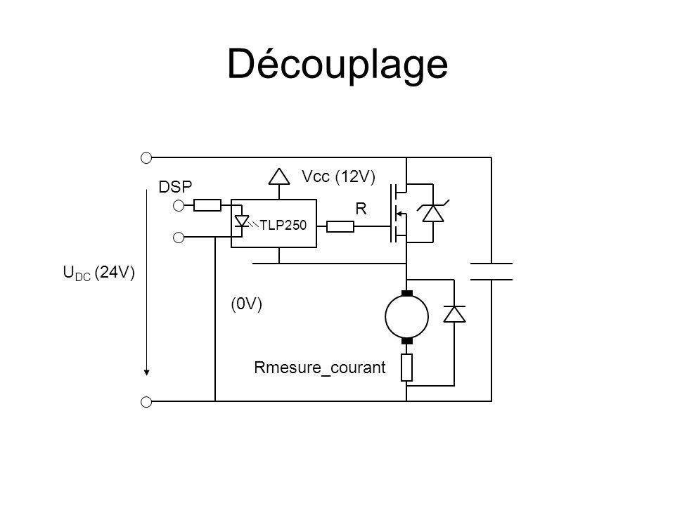 Découplage Vcc (12V) DSP R TLP250 UDC (24V) (0V) Rmesure_courant