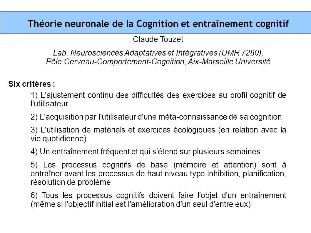Théorie neuronale de la Cognition et entraînement cognitif