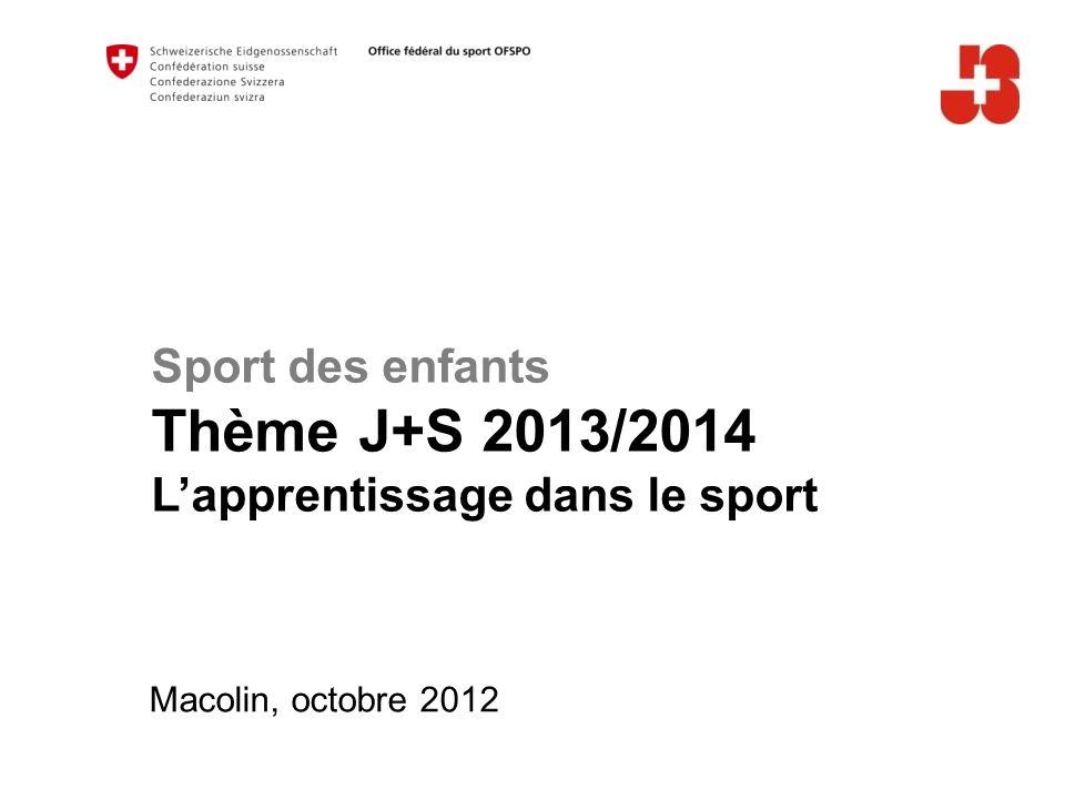 A Sport des enfants Thème J+S 2013/2014 L'apprentissage dans le sport