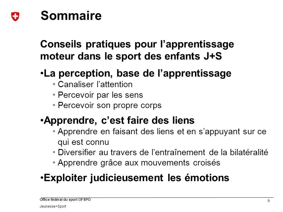 Sommaire Conseils pratiques pour l'apprentissage moteur dans le sport des enfants J+S. La perception, base de l'apprentissage.