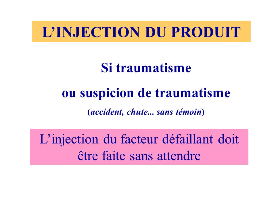 L'INJECTION DU PRODUIT