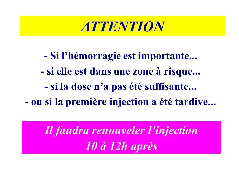 ATTENTION Il faudra renouveler l'injection 10 à 12h après