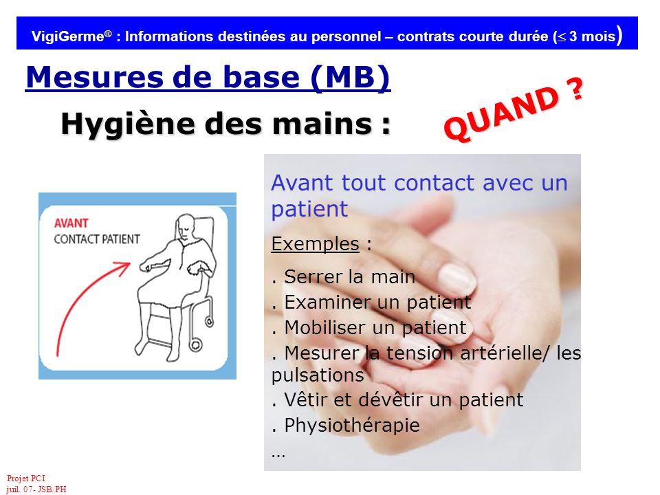 QUAND Hygiène des mains :