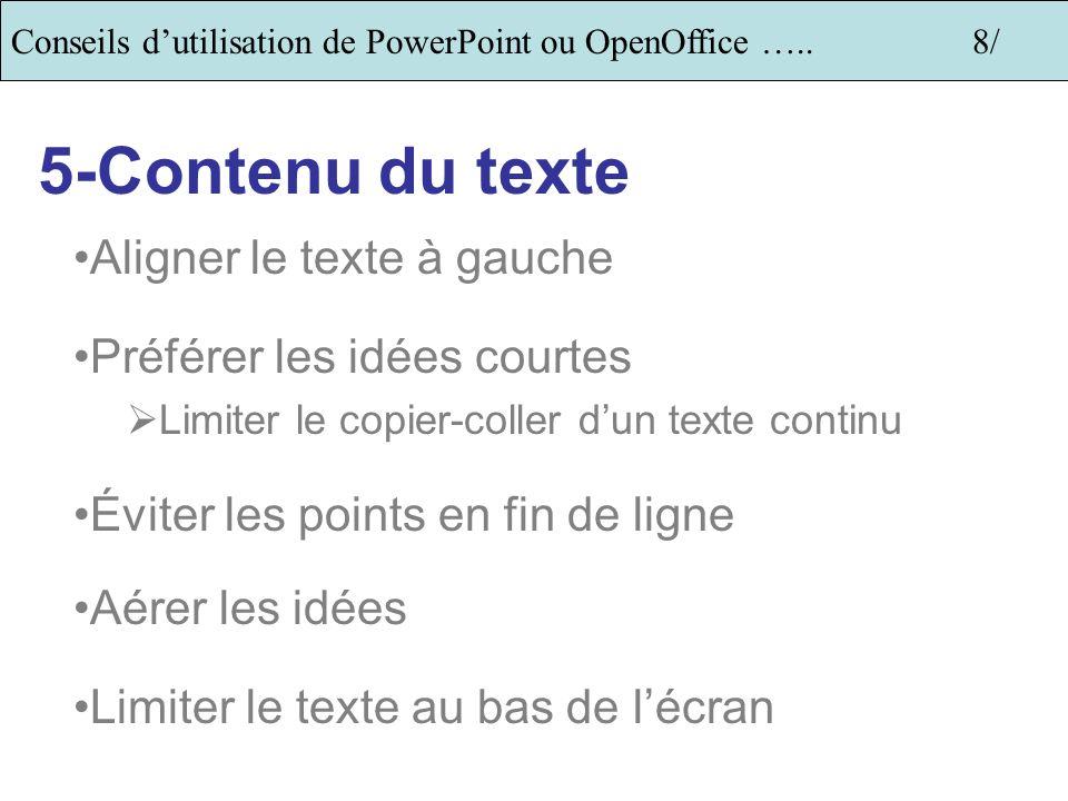 5-Contenu du texte Aligner le texte à gauche